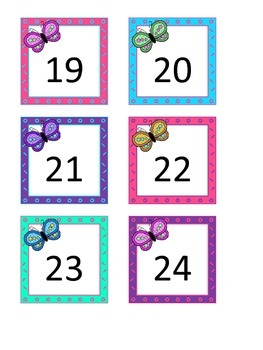 Colorful Butterfly Calendar Numbers 1-31