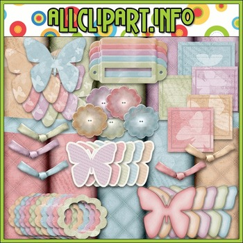 Colorful Butterfly Commercial Use Clip Art Kit