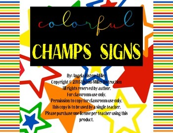 Complete and Colorful CHAMPS Sign Set- 65 unique signs in all!