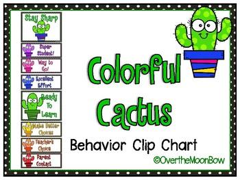 Colorful Cactus Behavior Clip Chart