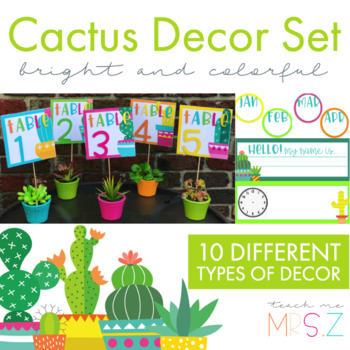 Colorful Cactus Decor Set {Editable}
