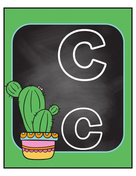Colorful Cactus Themed Alphabet Posters 8x10 - green, blue and pink
