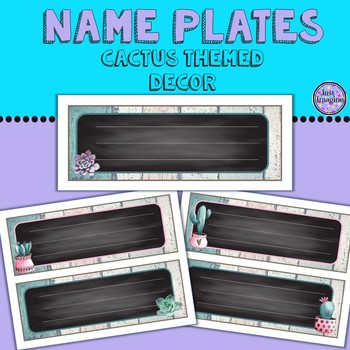 Colorful Cactus Themed Nameplates