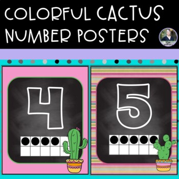 Colorful Cactus Themed Number Posters 8x10 - green, blue and pink