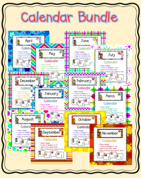 Colorful Calendar Bundle ~ Months and Numbers