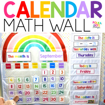 Colorful Calendar and Math Wall with Photographs