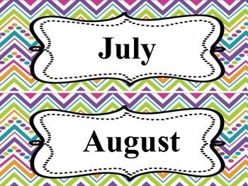Colorful Calendar months/days