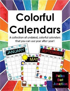Colorful Calendars - undated