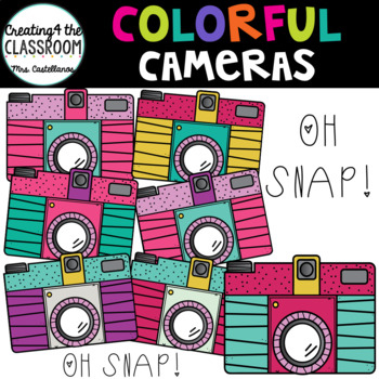 Colorful Camera Clip art-8 color and 1 bw