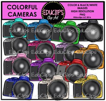Colorful Cameras Clip Art Bundle {Educlips Clipart}