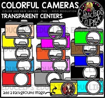 Colorful Cameras - Transparent Centers Clip Art Bundle {Educlips Clipart}