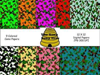 Colorful Camo Papers {9 backgrounds for personal & commerc