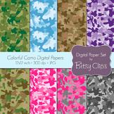 Colorful Camo Papers Digital Paper Set Scrapbook Paper Cam