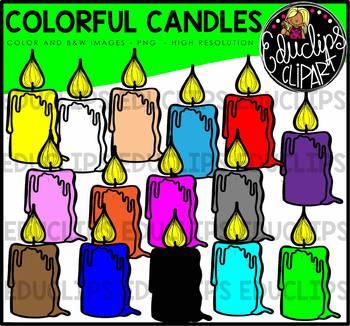 Colorful Candles Clip Art Bundle {Educlips Clipart}