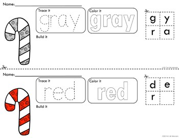 Rainbow Candy Canes Trace Color and Build - Writing Center Activity