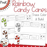 Rainbow Candy Canes Trace Color and Build - Writing Center