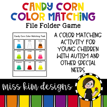 Colorful Candy Corn Matching Folder Game for students with Autism