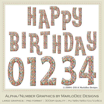 Colorful Candy Sprinkles Birthday Numbers & Happy Birthday Word Art Graphics