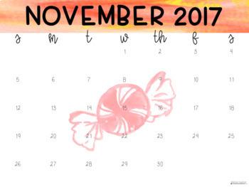 Colorful Candy Watercolor Calendar Bundle