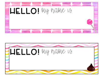 Colorful Candy Watercolor Editable Nameplates