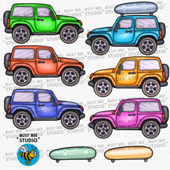 Colorful Cars Clip Art set 1