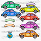 Colorful Cars Clip Art set 2