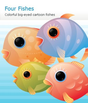 Colorful Cartoon Fishes Set