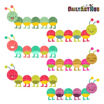Colorful Caterpillars Clip Art - Great for Art Class Projects!