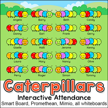 Colorful Caterpillars Theme Attendance for All Interactive Whiteboards