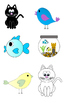 Colorful Cats, Birds and Fish Clipart Bundle