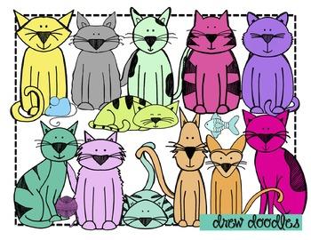 Colorful Cats Clip Art