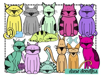 Colorful Cats Clip Art