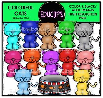 Colorful Cats Clip Art Bundle {Educlips Clipart}
