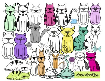 Colorful Cats Clip Art-- Color and Black Line COMBO