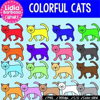 Colorful Cats {Clip Art for Teachers}