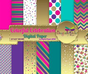 Colorful Celebration digital paper, commercial use, scrapbook papers
