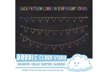 Colorful Chalk Bunting Banners Cliparts, Colorful Chalkboard Bunting Flags.