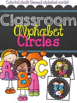 {Colorful Chalk} Classroom Alphabet Circles