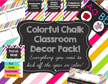 Colorful Chalk Classroom Decor Pack!