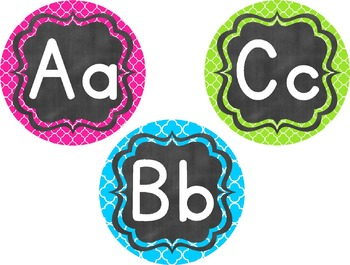 Colorful Chalkboard Alphabet {EDITABLE} Medallions