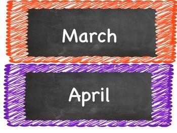 Colorful Chalkboard Calendar Set