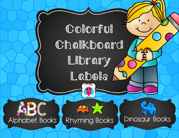 Editable Colorful Chalkboard Class Library Labels
