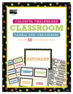 Colorful Chalkboard Classroom Labels and Organizers