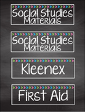 Bright Chalkboard Classroom Supply Labels