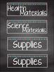 Bright Chalkboard Classroom Supply Labels