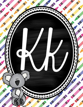 Colorful Chalkboard Cursive Alphabet