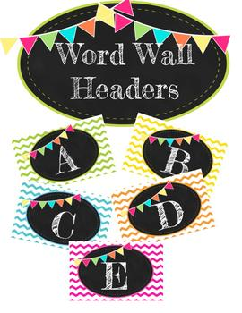 Colorful Chalkboard Fry Word Wall Headers