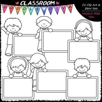Colorful Chalkboard Kids - Clip Art & B&W Set