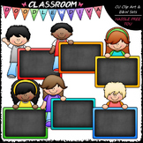 Colorful Chalkboard Kids - Clip Art & B&W Set