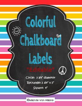 Chalkboard Rainbow Colored Labels *Editable*
